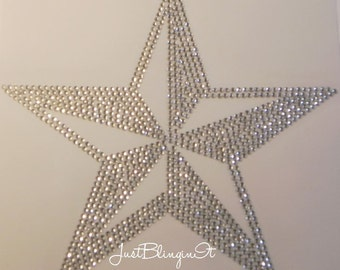 Western Nautical Star Hot Fix Iron On Rhinestone Transfer Bling DIY