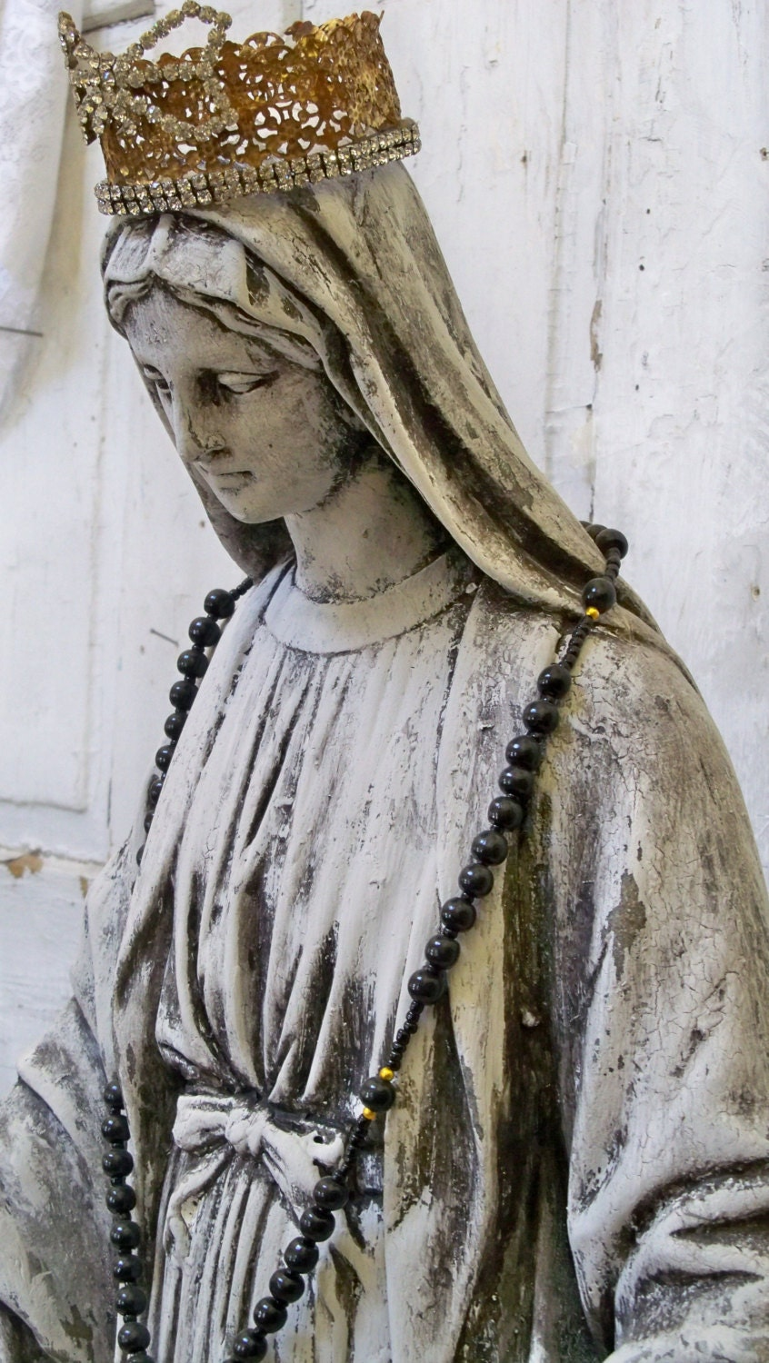 Huge Virgin Mary Statue Large Handmade Crown Distressed-1609