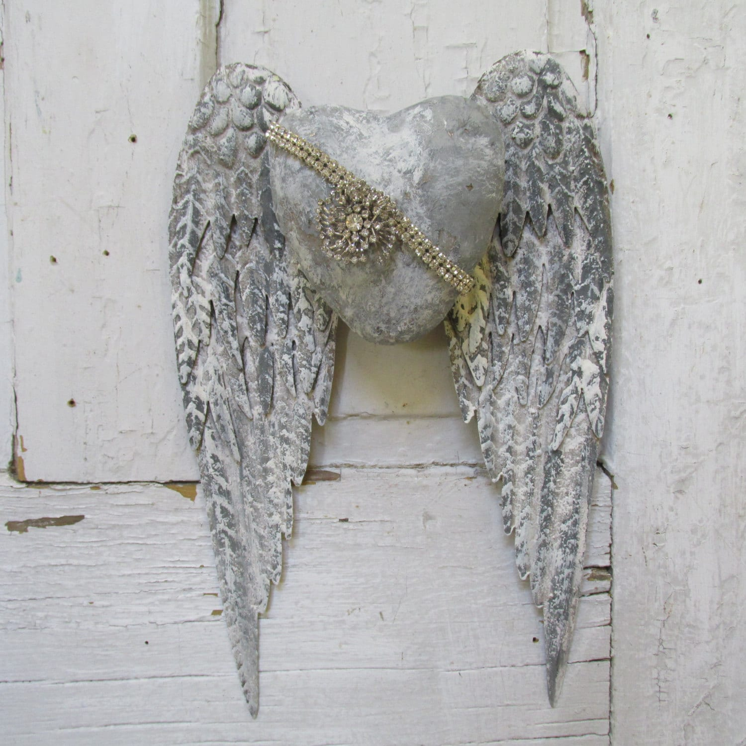 Metal angel wings wall decor sculpture santos style hand for Angel wings wall decoration