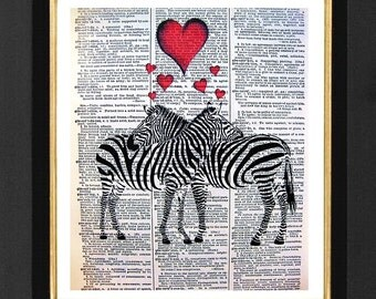 "Zebra Love ""Two of a Kind"" Animal Humor,Zebra Love Prints,Mixed Media art print on 8x10 Vintage Dictionary Page, Dictionary Prints,"