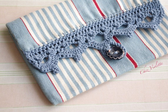Blue Stripe bag, Crochet bag Country Clutch, Cosmetic pouch, Makeup Lace bag Fabric bag farmhouse French Country