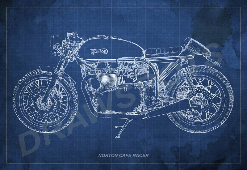 Norton cafe racer blueprint art print 8x12 in to 60x41 in new listed item by drawspots httpift1ysfnry targetblank titlenorton cafe racer blueprint art print 8x12 in to 60x41 in motorcycle art malvernweather Gallery