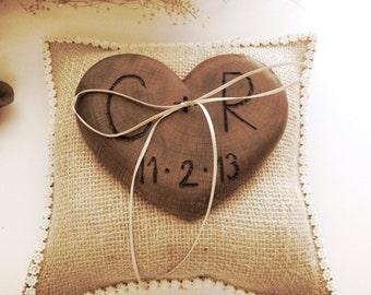 Rustic wedding ring bearer burlap pillow wooden heart country weddings