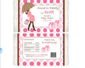 Ready to Pop Personalized Popcorn wrapper - baby girl shower favor, pink popcorn wrapper, baby girl favor set of 12 wrappers