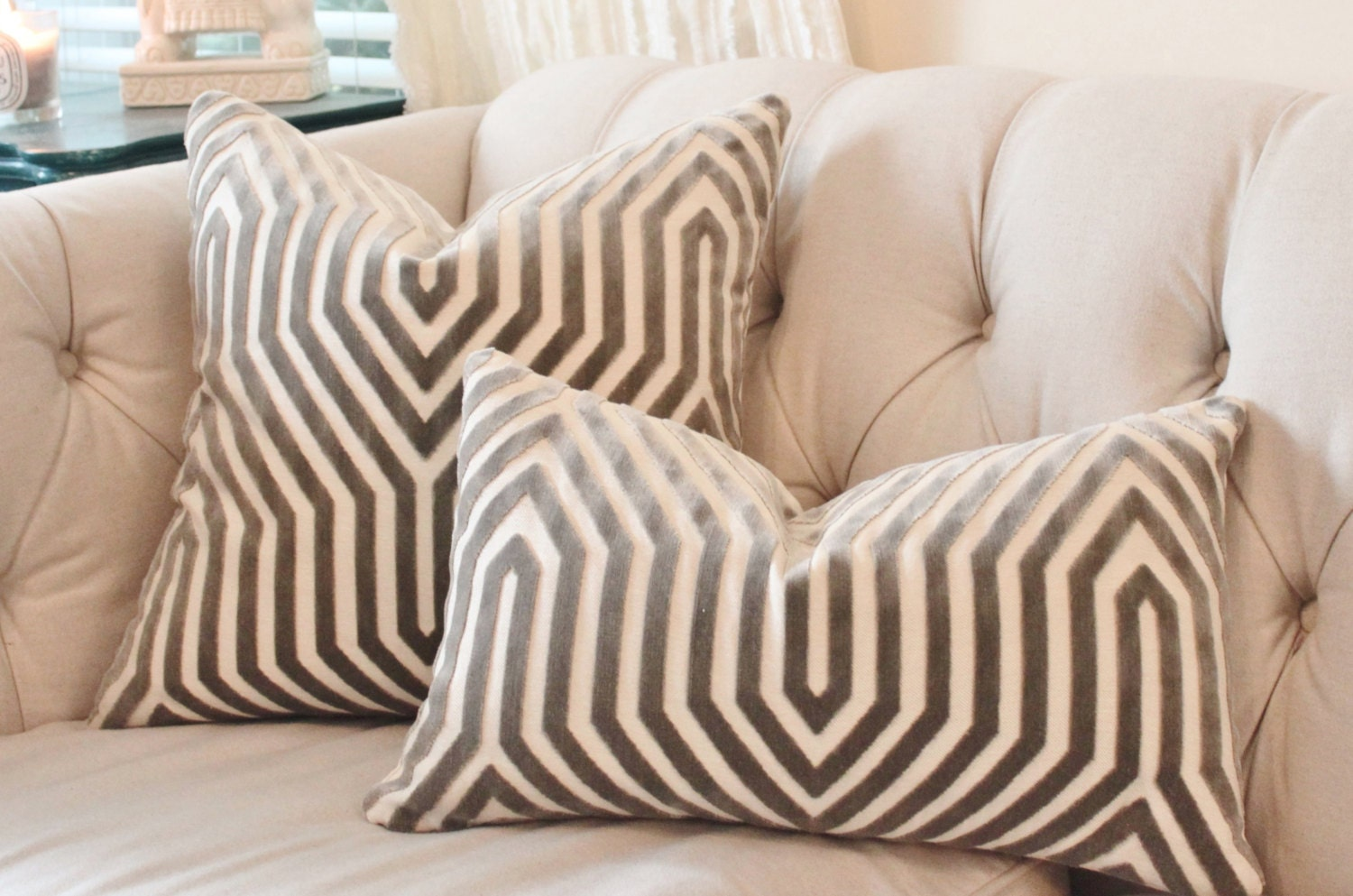 designer geometric pillow mary mcdonald gray pillow cover - 🔎zoom