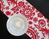 Suzani Table Runner in Lipstick Red & White