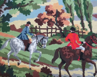 HUGE, Lovely Finished Needlepoint Piece, English Scene, by Margot de Paris Creations