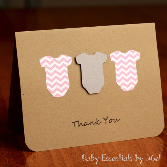 Items Similar To Set Of 6 Thank You Cards, Baby Shower, Baby Gifts, Chevron, Grey And Pink, Grey