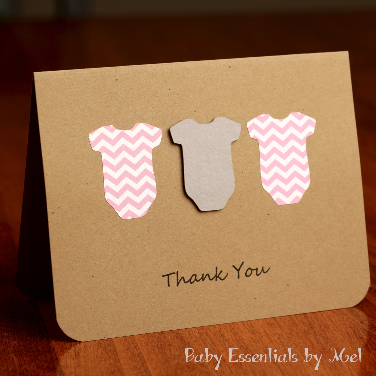 Set of 6 Thank You Cards baby shower baby gifts chevron