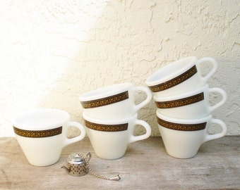 Vintage Pyrex Ebony Coffee Cups Fleur de Lys Pattern, Pyrex Ebony Tea Cups, Ebony Fleur de Lys Pyrex Cups Set of Six