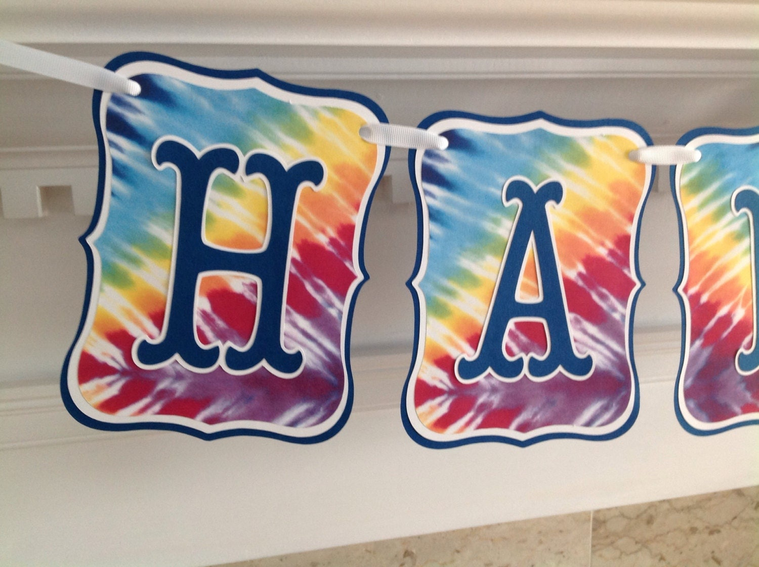 rainbow tie dyed dye colorful happy birthday banner