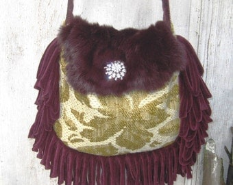 Genuine fur fabric bag purse, green burgundy gypsy bag, fringe bag, crossbody bag, rabbit fur bag