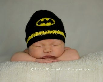 Batman Baby Hat, Baby Batman, Batman Beanie, Baby Boy Hats, Superhero Hat,Newborn Photo Prop, Batman Baby, Knit Boy Hat, Newborn Batman Hat