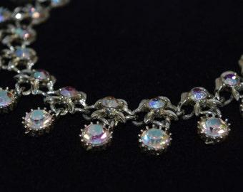 Vintage Aurora Borealis Rhinestone Dangle Necklace 1940s