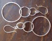 Triple Hoop Earrings, Three Hammered Fused Fine Silver Interlocking Loops Hung on Sterling Silver Earwires (20g).