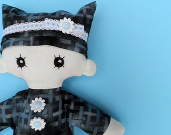 Cloth doll - baby girl- cotton ragdoll - black plaid, pretty lace & baby-blue daisies