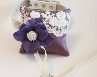 Lavender ring pillow, Dog Ring Bearer Pillow, Lavender  Ring Pillow attach to dog Collar, Pet wedding accessory, Vintage Wedding ideas