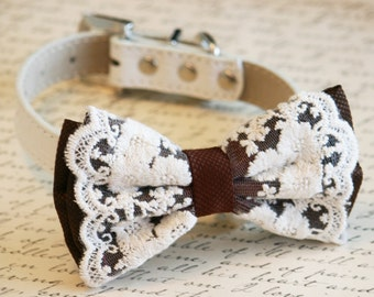 Brown Lace Dog Bow Tie Collar, Country rustic wedding, Pet accessory