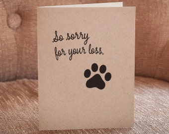 So Sorry For Your Loss Letterpress Pet Sympathy Card