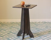 Small Wood Side Table or Nightstand - Pedestal style - Driftwood Color - Distressed, Rustic, Antiqued