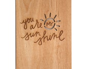 You Are My Sunshine Wooden Love Card - Wood Valentine Card, Anniversary Card for Boyfriend Gift, Baby Shower Gift