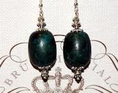 Greenish Blue Barrel Earrings