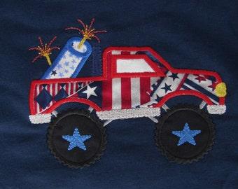 """Applique/Embroidered """"Monster Truck & Firecracker"""" T-shirt"""