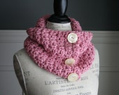 ROSE  Cowl Scarf with 3 off white buttons, crocheted