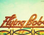 Flying Bobs - 8x12 Carnival Fair ride photography print whimsical home nursery room decor wall art mint green orange fun kids unisex summer