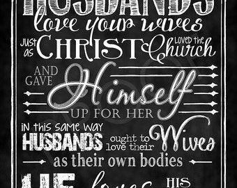 Scripture Art - Ephesians 5:22-24 (Husbands)  Chalkboard Style
