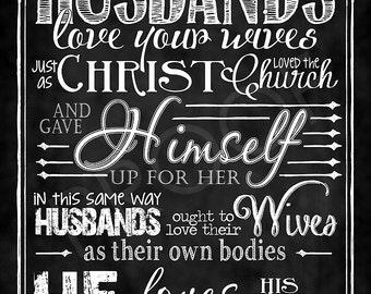 Scripture Art - Ephesians 5:22-24 (Husbands)  Chalkboard Style