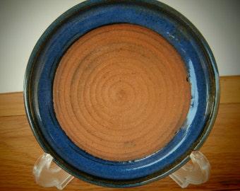 Handmade Stoneware Pottery, Wheel thrown Blue garlic grater plate, dish, platter