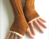 Knitted Arm Warmers In Pumpkin Spice-Fingerless Knitted Gloves -Women's Gloves-Lace Gloves.