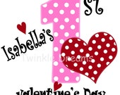 My First Valentine's Day, DIY, Printable, Digital Image,  Iron-on, transfer, Pink & Red,  T shirt custom
