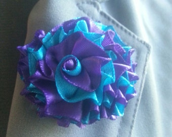 Purple and Turquoise Lapel Pin Brooch Pin Flower Pin Boutonniere