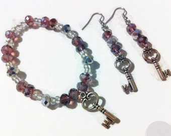 Purple Key to my Heart Bracelet Set, Key Charms, Purple beads, faceted crystal beads, sparkly jewelry, gifts for her, stocking stuffers,