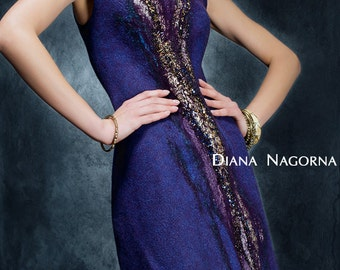 "Felted dress ""Blue Bird"", fashionable clothes, elegant dress, beautiful dress, hand felting, bead embroidery"