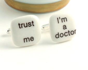 Doctor Cuff links Porcelain Trust Me Fun Handmade Gift Present Men White Brown Funny
