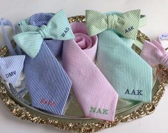 Monogrammed Seersucker Ties for Men