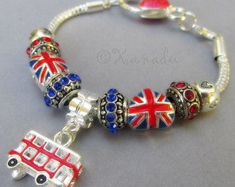 British Pride European Starter Charm Bracelet With Red, Blue UK Union Jack Flag Heart Bead And 3D Red Double Decker Bus Charm