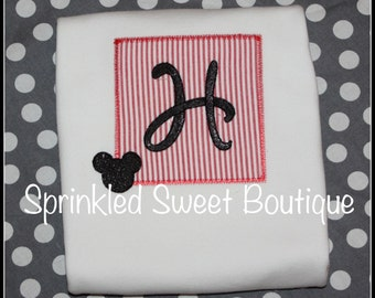 Mickey Mouse Inpired Monogram Patch Applique Shirt Romper First Birthday Disney Trip Can also do Minnie w/Pink Fabric