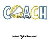 DD CHEER COACH Applique - Machine Embroidery Design - 2 Sizes - Instant Download