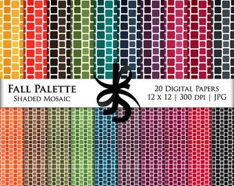 Digital Scrapbook Papers-Fall Palette Mosaic Square-Autumn-Thanksgiving-Clipart-Background-Wallpaper-Printable-Instant Download Clip Art