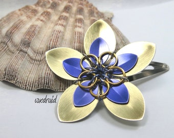 Scale Flower Hair Clip, Handmade Gold and Purple Flower Hairpiece, Hair Flower Clip