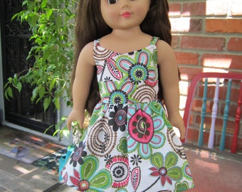 Wrap top dress for American Girl doll - happy Spring print