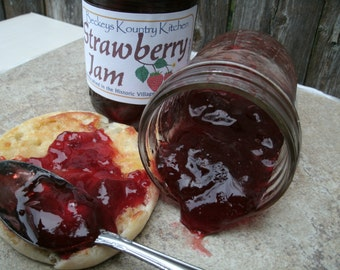 Jam and Jelly, Strawberry jam, handcrafted, Deliciously Sweet, homemade jam, Strawberry preserves, holiday gift, food gift, fruit jelly