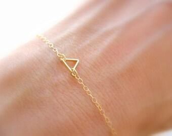 Dainty Gold Bracelet Gold Bracelet Bridesmaids Jewelry Gold Jewelry Thin Gold Bracelet Gold Triangle Bracelet, Delicate Bridesmaids Bracelet