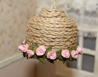 Lamp with roses, miniature dollhouse