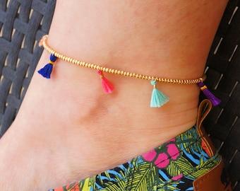 Tassel Anklet - Beaded Anklet - Gold Seed Bead Ankle Bracelet - Multicolored Anklet - Boho Anklet