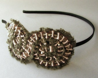 Dove Grey Ribbon And Lace And Everything Nice Headband With Swarvoski Crystal Accents